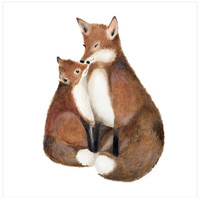 Mother and Baby Fox Nursery Art Print