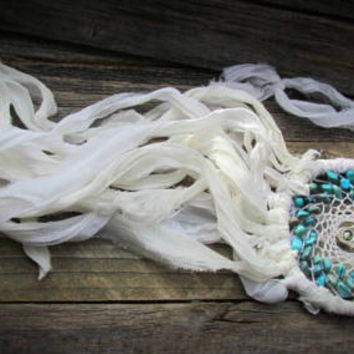 White HAMSA Turquoise Beaded DREAM CATCHER~White Silk Sari~Bohemian Dream Catcher~Wall Hanging Home Decor~Healing Ornament~Mdogstudios~