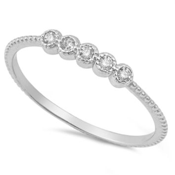 .925 Sterling Silver Small Circles CZ Bar Ring Ladies and Kids Size 4-10 Midi Thumb Knuckle