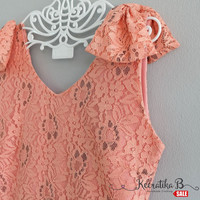 SALE - Simply spring summer sundress pink nude lace dress Bow shoulders Pleated party dress Tea Dress Small