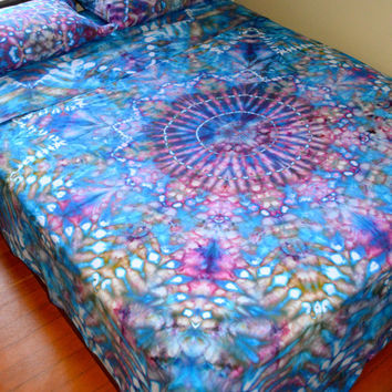 Organic Hand Dyed Queen Sheet Set - Water Mandala - Psychedelic Bedding