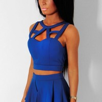Lilliana Blue Structured Cage Front Crop Top | Pink Boutique