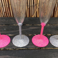 Bachelorette Party plastic glitter champagne glass (single)