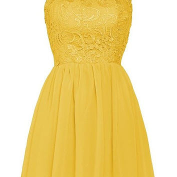 Yellow Lace Chiffon Homecoming Dress,Simple Straps Homecoming Dresses