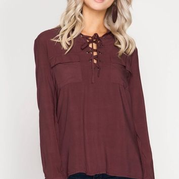 Wine Lace Up Pocket Top (final sale)