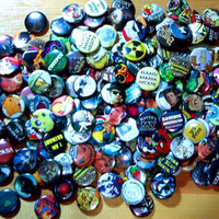 1 inch Pop Culture Button Grab Bags... 30 Pin Backed Buttons....Recycled Art