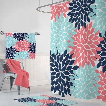 Coral Navy Aqua SHOWER CURTAIN, Flower Bathroom Decor, Flower Shower Curtain Custom MONOGRAM Personalized, Girl Bathroom Towel Mat Set