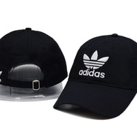 Trendy Black Adidas Logo Cotton Outdoor Baseball Golf Sports Cap Hats