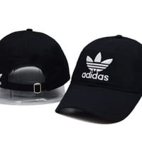 Trendy Black Adidas Logo Cotton Baseball Golf Sports Cap Hats