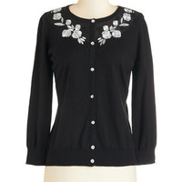 ModCloth Mid-length Exquisite and Talk Cardigan in Black