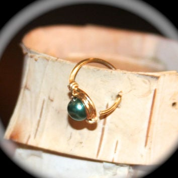 Small Sterling Silver Pearl Cartilage Earrings, 20 22 gauge Green Pearl Beaded Nose Ring, Nose Hoop, Helix Hoop, Nose Rings Piercing Jewelry