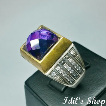 Authentic Turkish Ottoman Style Handmade 925 Sterling Silver Ring For Men With Amethyst Stone.