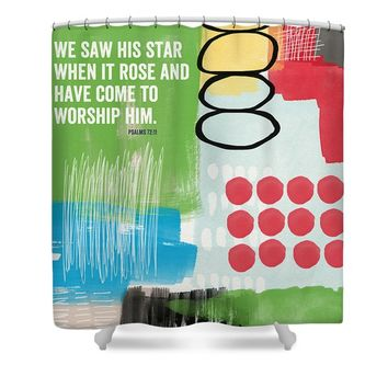 His Star Rose- Contemporary Christian Art by Linda Woods Shower Curtain
