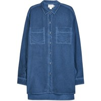 DKNY Blue Oversized Silk Shirt