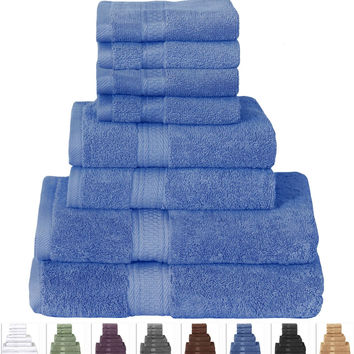8-Piece Cotton Bath Towel Set in Electric Blue Color