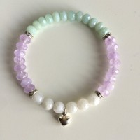 Genuine Round Moonstone & Faceted Amazonite and Cape Amethyst Bracelet w/ Swarovski Crystal Spacers