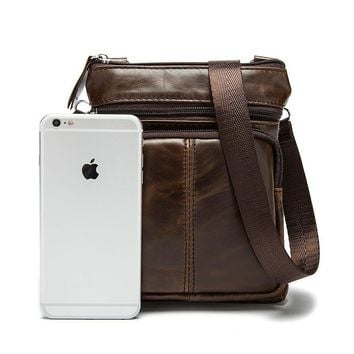 Men's Leather Messenger Crossbody Shoulder Bag
