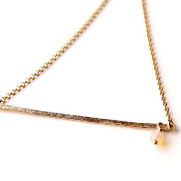 Gold Bar necklace with Opal, Ethiopian Fire Opal and gold filled,Minimalist style Artisan necklace,Spring trends, Prom, October Birthstone