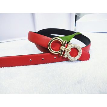 Ferragamo  Fashion New Metal More Diamond Buckle Personality Women Leisure Leather Belt  Red