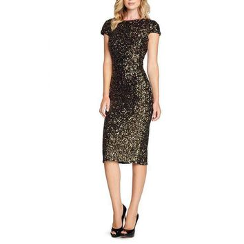 Women Summer Dress Short Sleeve O Neck Black Gold Sequin Casual Party Work Office Backless Slit Cocktail Midi Syigw Dress