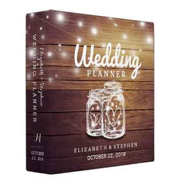 Rustic Wood Mason Jar String Light Wedding Planner 3 Ring Binder