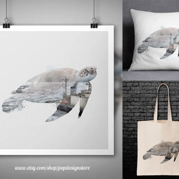 Sea Turtle Double Exposure Ship Ice Landscape Animals Print Poster Tote Bag Mug Frame Pillow Case Digital File for Download PNG High Quality
