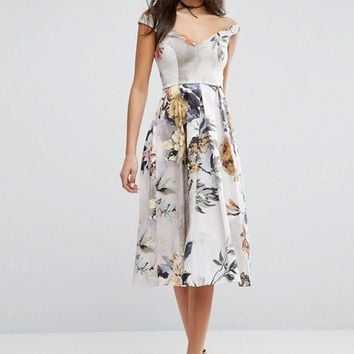 ASOS Off Shoulder Floral Midi Prom Dress at asos.com