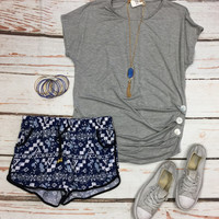 Triple Threat Button Top: Grey