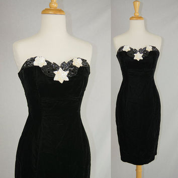 Vintage 1980's Black Velvet and Sequin Wiggle Prom Dress