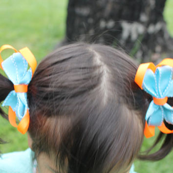 Pigtail Twin blue & Orange Pinwheel Layered Hairbows.