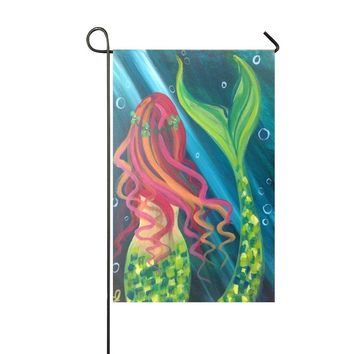 Baocnber Holiday Decor Outdoor House Flag- Green Diamond Tail Beautiful Girl Mermaid 12.5x18 Inch Double Sided Garden Flag