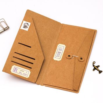 Filler Papers Traveler's Notebook Kraft Paper Pocker Business Card Holder File Folder