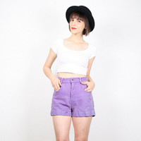 Vintage High Waisted Shorts 1980s Purple Denim Shorts 80s Shorts ESPRIT Jean Shorts Textured Chambray Cotton Shorts Cut Offs S M Medium