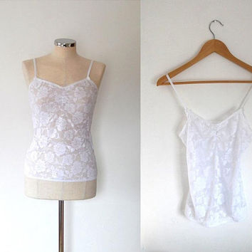 White rose lace camisole top / semi-sheer / vintage / stretchy / summer / floral lace strap top