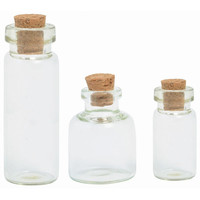 Tiny Corked Bottles in 3 Sizes, for Mixed Media Art Projects