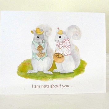 Autumn Squirrel Anniversary Card Cute Couple Acorn Love