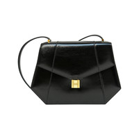 1970's HERMES black box leather shoulder bag with gold 'padlock' lock closure