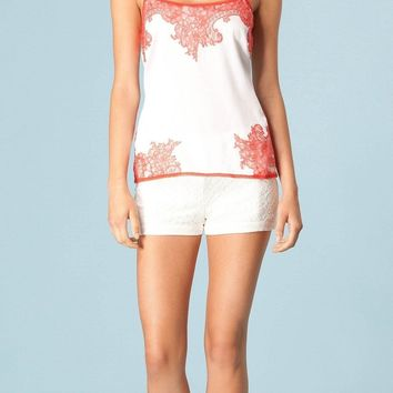 White Coral Lace Trimmed Silk Charmeuse Tank Top
