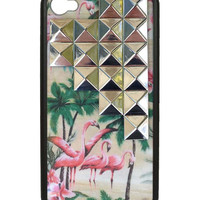 Pink Flamingo Silver Studded Pyramid iPhone 4/4s Case