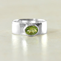 Peridot Gemstone Ring in Solid Sterling Silver