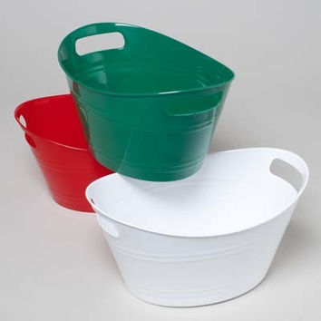 double handle plastic oval basket- christmas colors Case of 48