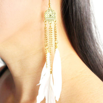 White feather boho tassel earrings - boho drop earrings -boho feather drop earrings