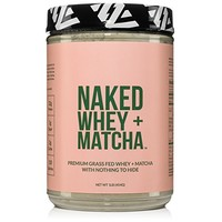 Naked Whey + Matcha Protein 1LB - All Natural Grass Fed Whey Protein Powder and Organic Matcha Green Tea - GMO, Soy, and Gluten Free Aid Muscle Growth and Recovery 16 Servings