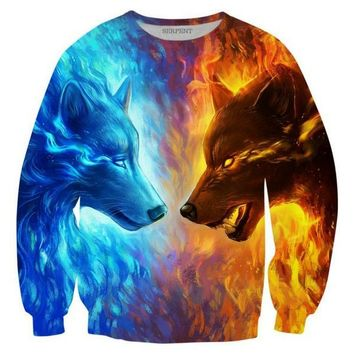 Cloudstyle 2017 Hot Sale 3D Sweatshirt Men Animals Ice Fire Wolf Print Pullover Men's Leisure Long Sleeve Crewneck Tops Autumn