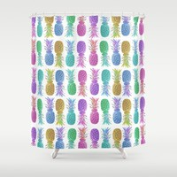 Pastel Pineapples Shower Curtain by Lisa Argyropoulos