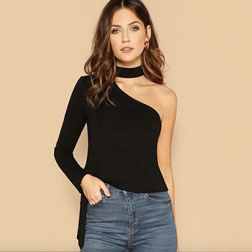 Side Knot One Sleeve Bodysuit