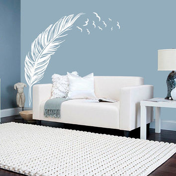 Wall Decal Vinyl Sticker Decals Art Decor Plumage Feather Birds Nib Style Falling Feather Peacock  Living room Bedroom Modern Fashion (r534)