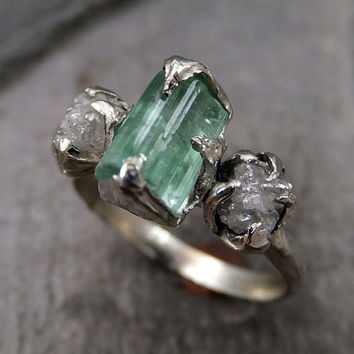 Raw sea green Tourmaline Diamond White Gold Engagement Ring Wedding Ring One Of a Kind Gemstone Ring Bespoke Three stone Ring byAngeline