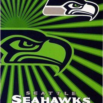 Seattle Seahawks NFL Strobe Design Sherpa 50x60 Fleece Plush Throw