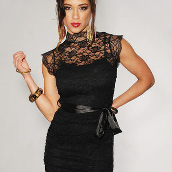 Black Cap Sleeve Turtleneck Floral Lace Mini Dress
